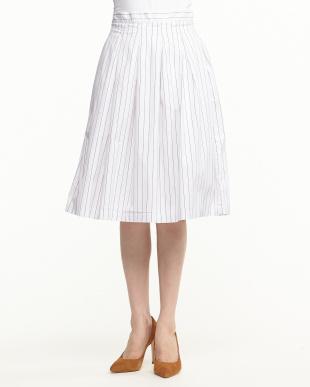 WHITE ストライプスカート見る