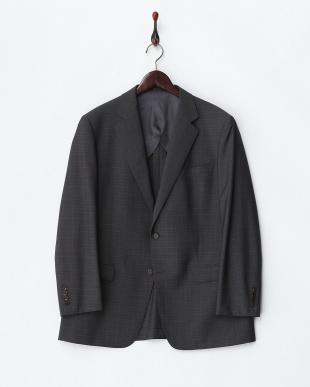 グレー  2ボタン チェック紳士スーツ見る