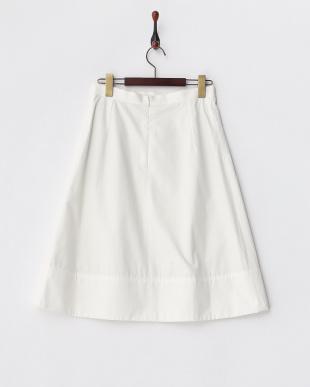 ホワイト  コットン フレアスカート見る