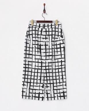 ブラック×ホワイト センタースリット ロングタイトスカート見る