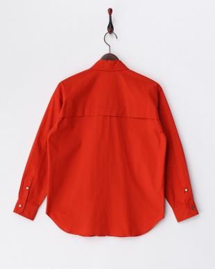 オレンジ  オーバーサイズコットンシャツ見る