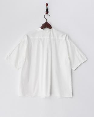 ホワイト  袖タック スキッパーシャツ見る