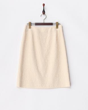 ベージュ  ジャカード 台形スカート見る