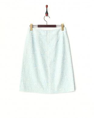 ライトブルー  ジャカード 台形スカート見る