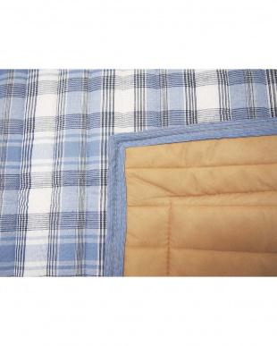 ブルー しじら織りラグ 185×185cm見る