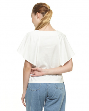 WHITE  シルケットフレアスリーブTシャツ見る