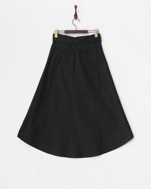 BLACK  ウエストリボンミディスカート見る