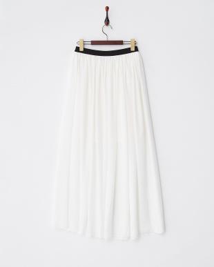 ホワイト シフォンマキシギャザースカート見る