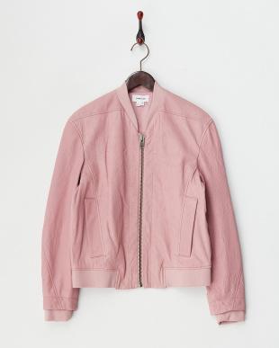 pink FURROW レザー ボンバージャケット見る