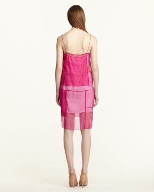 pink CHINTZED ORGANZA カラーブロックドレス見る