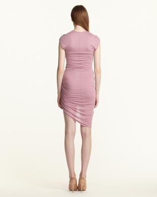 pink SLACK JERSEY Vネック ツイストドレス見る