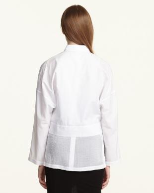 white 綿ローン レイヤードシャツ見る