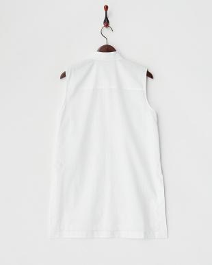 white 綿ローン ハイスリット BTNシャツ見る