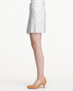 grey スリット入りレザーボンディングスカート見る