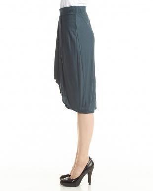 blue SCALA ジャージー プリーツフロントスカート見る