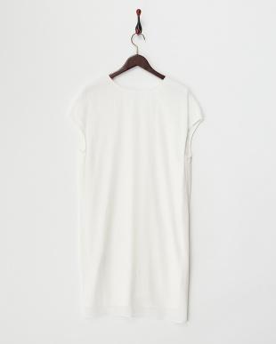 white ガーゼクレープ スラウチポケット ドレス見る