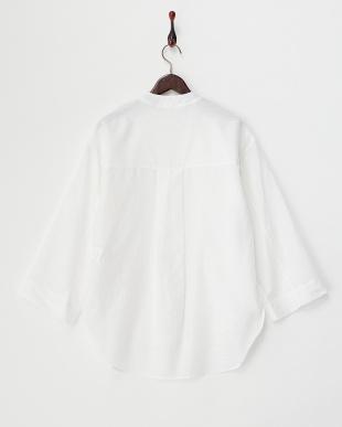 white コットンシルク混シャツ見る
