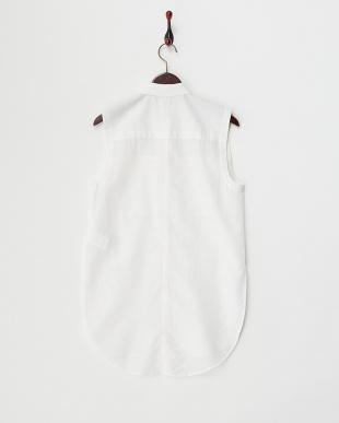 white  コットンシルク混スリーブレスシャツ見る