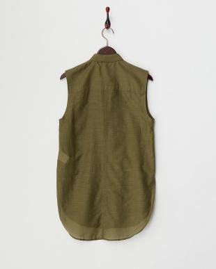 green  コットンシルク混スリーブレスシャツ見る