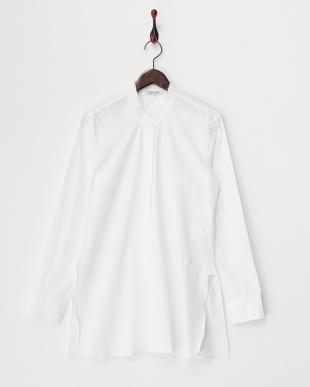 white  ライトウェイトコンパクトポプリン オーバーラップシャツ見る