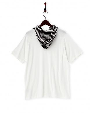 ホワイト C/R天竺フーデッドTシャツ見る
