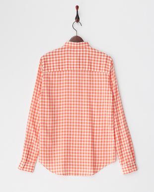 オレンジ ギンガムチェック レーヨンシルクシャツ見る