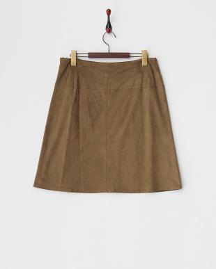 モカブラウン フェイクスウェード台形スカート見る