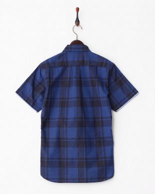 NAVY  SK.SASHIKO CHECK 半袖BDシャツ見る