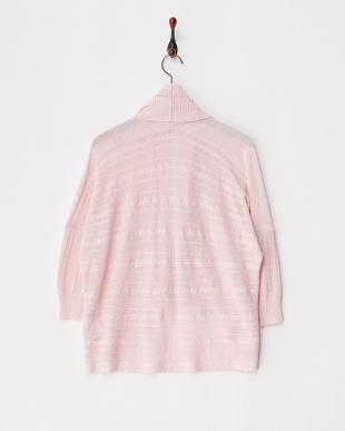 ピンク 編み地切り替えスウィングカーディガン見る