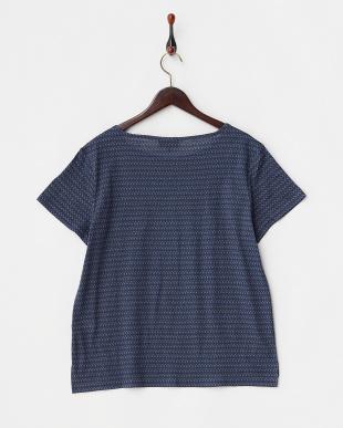 ネイビー リネンコットン小紋Tシャツ見る