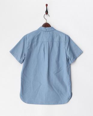 ブルー  2ポケット半袖シャツ見る