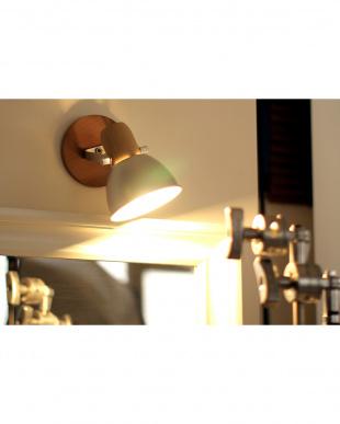 シルバーカラー  アルミ&ウッド1灯テーブル&壁掛け兼用ランプ見る