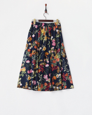 ネイビー  花柄フレアスカート見る
