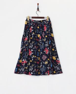 ネイビー  花柄スカート見る