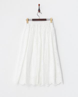 ホワイト  エンブロイダリーレース ギャザースカート見る