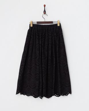 ブラック  エンブロイダリーレース ギャザースカート見る