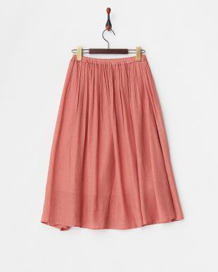 ピンク  ウエストゴム ギャザースカート見る