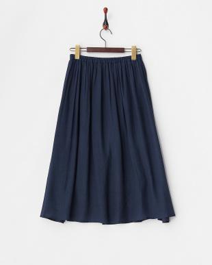 ネイビー  ウエストゴム ギャザースカート見る