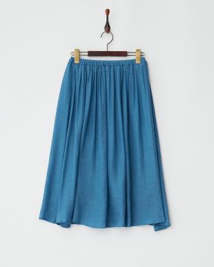 ブルー  ウエストゴム ギャザースカート見る