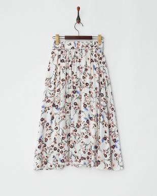 オフホワイト  フラワープリントスカート見る