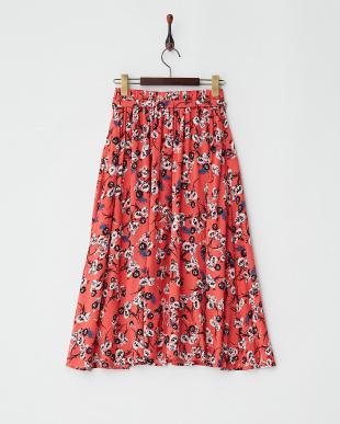 レッド  フラワープリントスカート見る