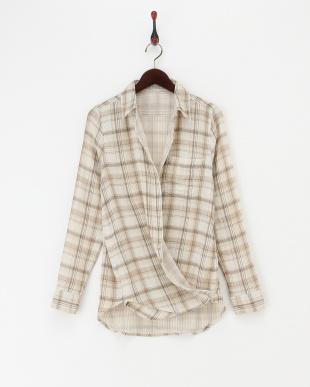 ベージュ  カシュクール Wガーゼリバーシブルシャツ|WOMEN見る