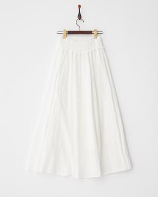 オフホワイト 綿ドビー刺繍×トーションレース フロント釦開きスカート見る