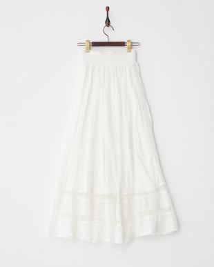 オフホワイト コットンチュール×トーションレースロングスカート|WOMEN見る