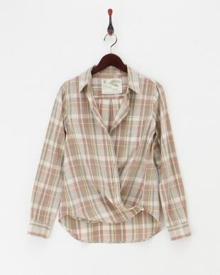 ベージュ  カシュクール チェック柄2WAYシャツ|WOMEN見る