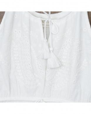 オフホワイト インドペイズリー白糸刺繍 マキシワンピース見る