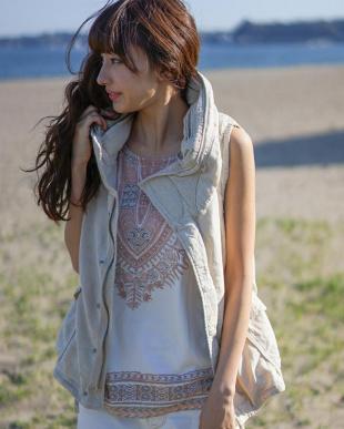 キナリ  綿麻カーゴ BIGフードベスト|WOMEN見る