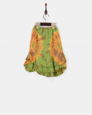 グリーン  タイダイラップ風スカート|KIDS見る