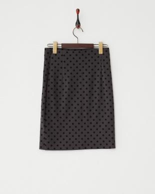 ミディアムグレー  ポルカドットタイトスカート見る