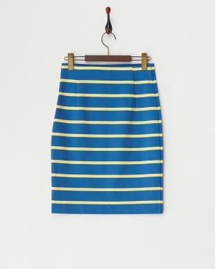 ブルー ポンチボーダータイトスカート見る
